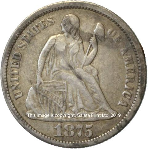 USA  10 cents 1875