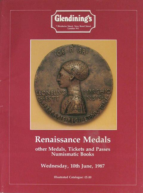 10 Jun, 1987  Renaissance Medals, other Medals, Tickets and Passes, Numismatic Books.