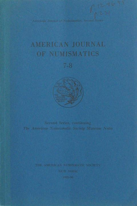 American Journal of Numismatics  Second Series, 7-8