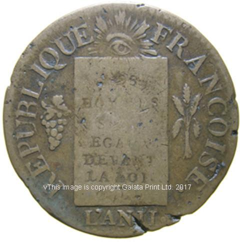 FRANCE, Republique AE 1 sol, 1793