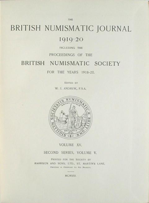 British Numismatic Journal 1919-20