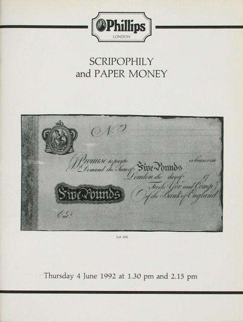 Phillips  4 June, 1992. Scripophily and Paper Money