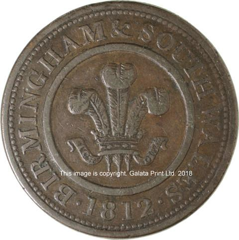 BIRMINGHAM & SOUTH WALES, Penny token 1812.