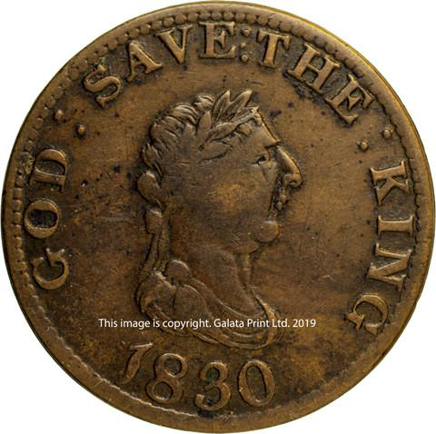 ISLE OF MAN. Penny token 1830.