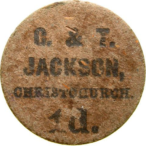 Farm token. G & T Jackson. Christchurch, Wisbech.