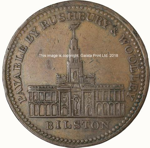 BILSTON, Rushbury & Woolley, bankers and screw and buckle manufacturers. Penny token 1811.