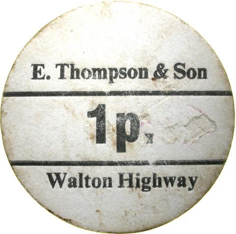 Farm token. E Thompson & Son, Walton Highway.