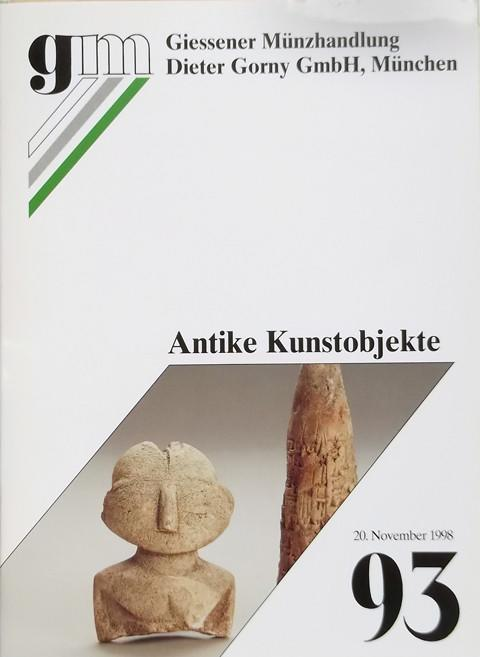 20 Nov 1998 Auktion 93.  Antike Kunstobjekte (Antiquities)