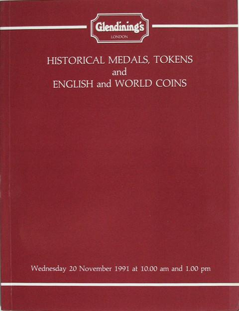 20 Nov, 1991  Historical medals, tokens and English and world coins.