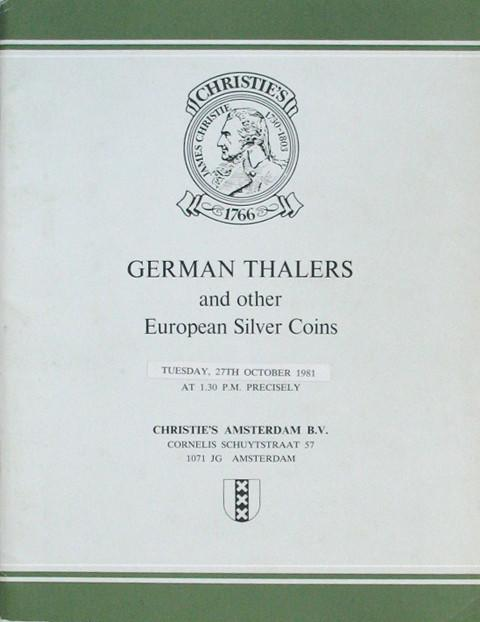 27 Oct, 1981. German Talers and other European Silver.