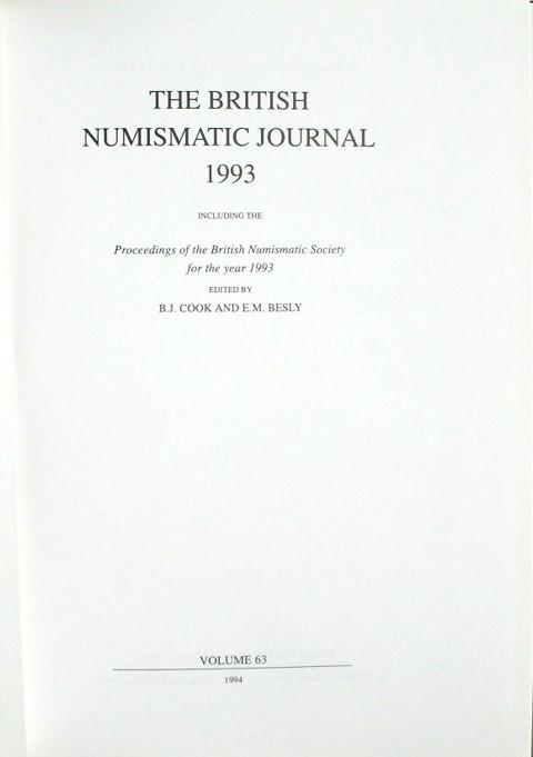 British Numismatic Journal 1993