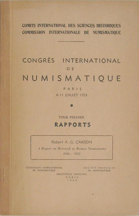 A Report on Research in Roman Numismatics 1936 - 1952.