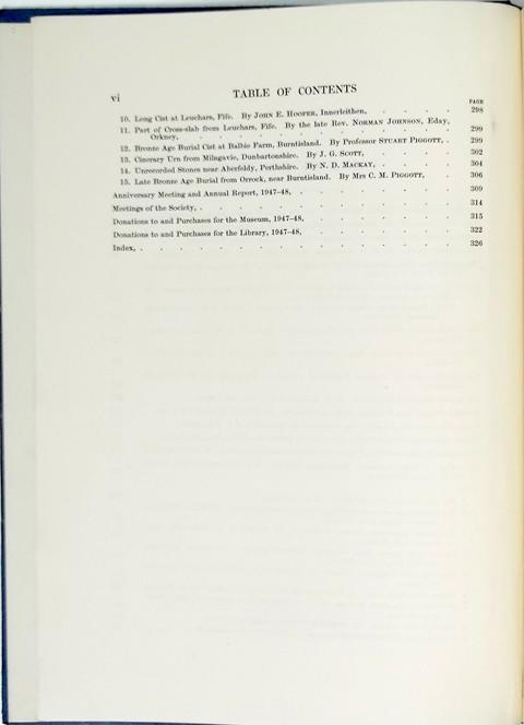 Proceedings of the Society of Antiquaries of Scotland 1947-48.