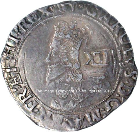 CHARLES I, 1625-49. Shilling, group E, 5th bust.
