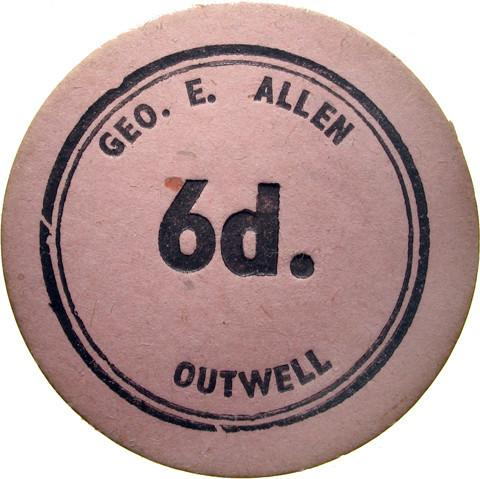 Farm token. Geo. E Allen.  Outwell.