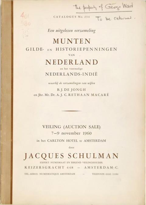 7 Nov. 1960  Jacques Schulman, Amsterdam.  Sale 234.