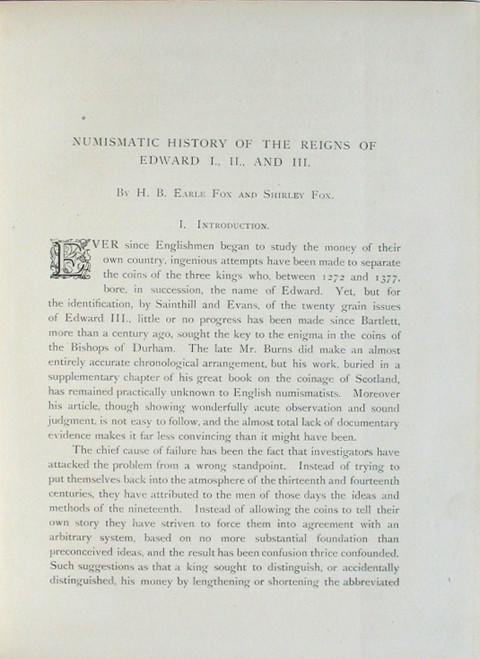 Numismatic History of the Reigns of Edward I., II. and III.