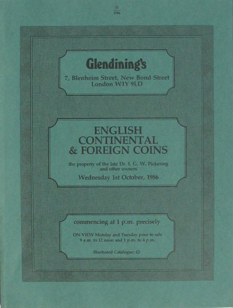 1 Oct, 1986  English, Continental and Foreign Coins.