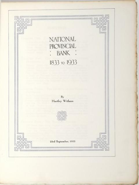 National Provincial Bank, 1833 to 1933