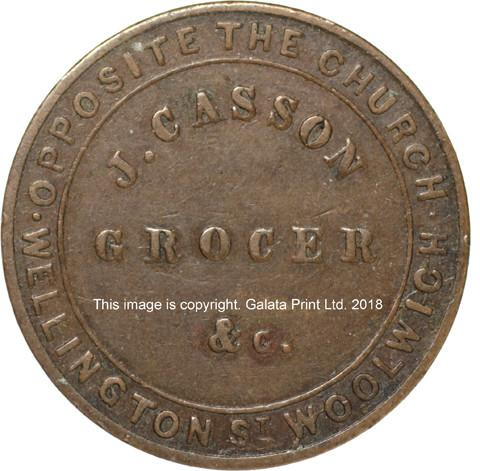 LONDON, (Woolwich) Farthing token, John Casson, Grocer & cheeesemonger.