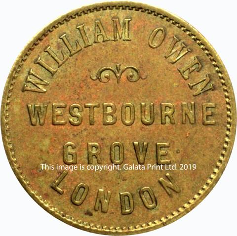LONDON, farthing token, William Owen, linen drapers, outfitters and silk mercers, Westbourne Grove.