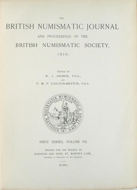 British Numismatic Journal 1910