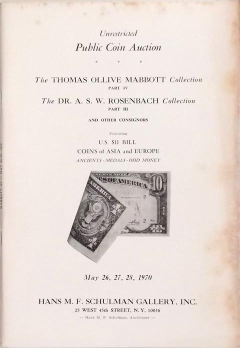 26 May, 1970  The Thomas Ollive Mabbott Collection.  Part 4. Rosenbach Collection Part 3