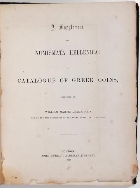 A Supplement to Numismata Hellenica : A Catalogue of Greek Coins.