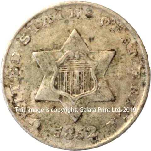 USA  3 cents 1852