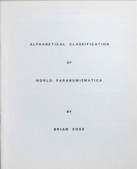 Alphabetical Classification of World of Paranumismatica.