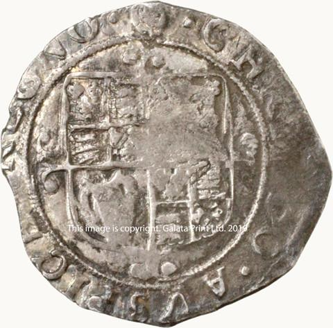 CHARLES I, 1625-49. Shilling, group F, 6th bust.