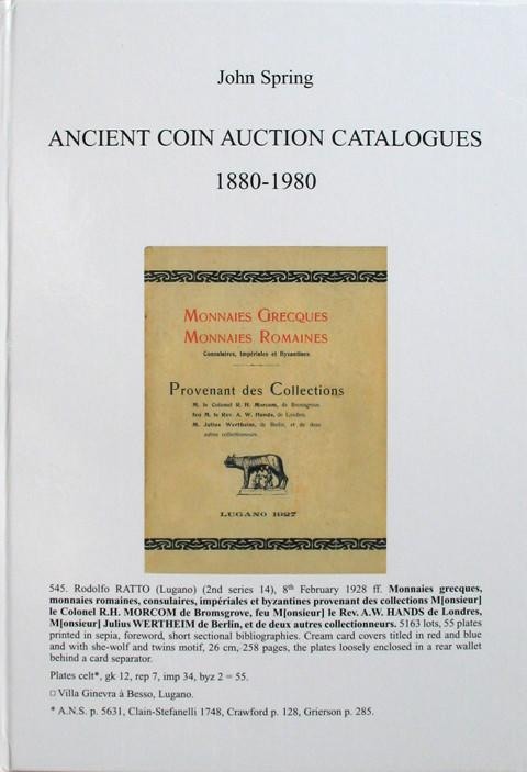 ANCIENT COIN AUCTION CATALOGUES 1880 - 1980.