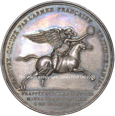FRANCE, Napoleon, Treaty of Amiens broken by the English, and Hannover occupied, 1803.  Silver medal.