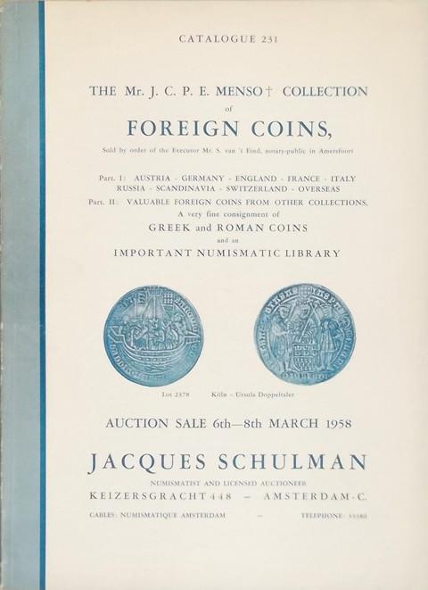 6 March. 1958  Jacques Schulman, Amsterdam.  Sale 231.