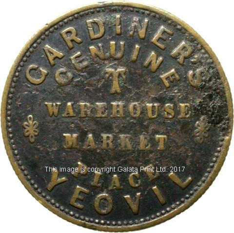 Advertising Tea token. Gardiners Tea Warehouse, Yeovil.