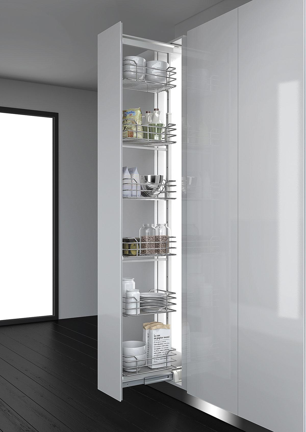 Dynamic Tall Larder Pull Out - 300mm (Metallic grey)