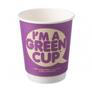 """I'm a Green Cup"" Compostable Hot Cups Double Wall 8oz"
