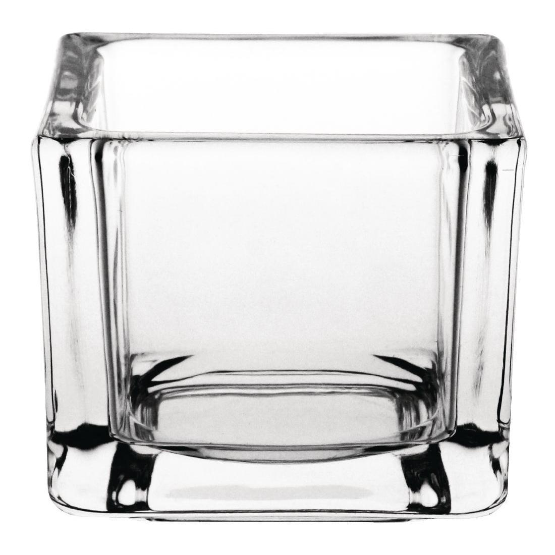 Olympia Glass Tealight Holder Square Clear