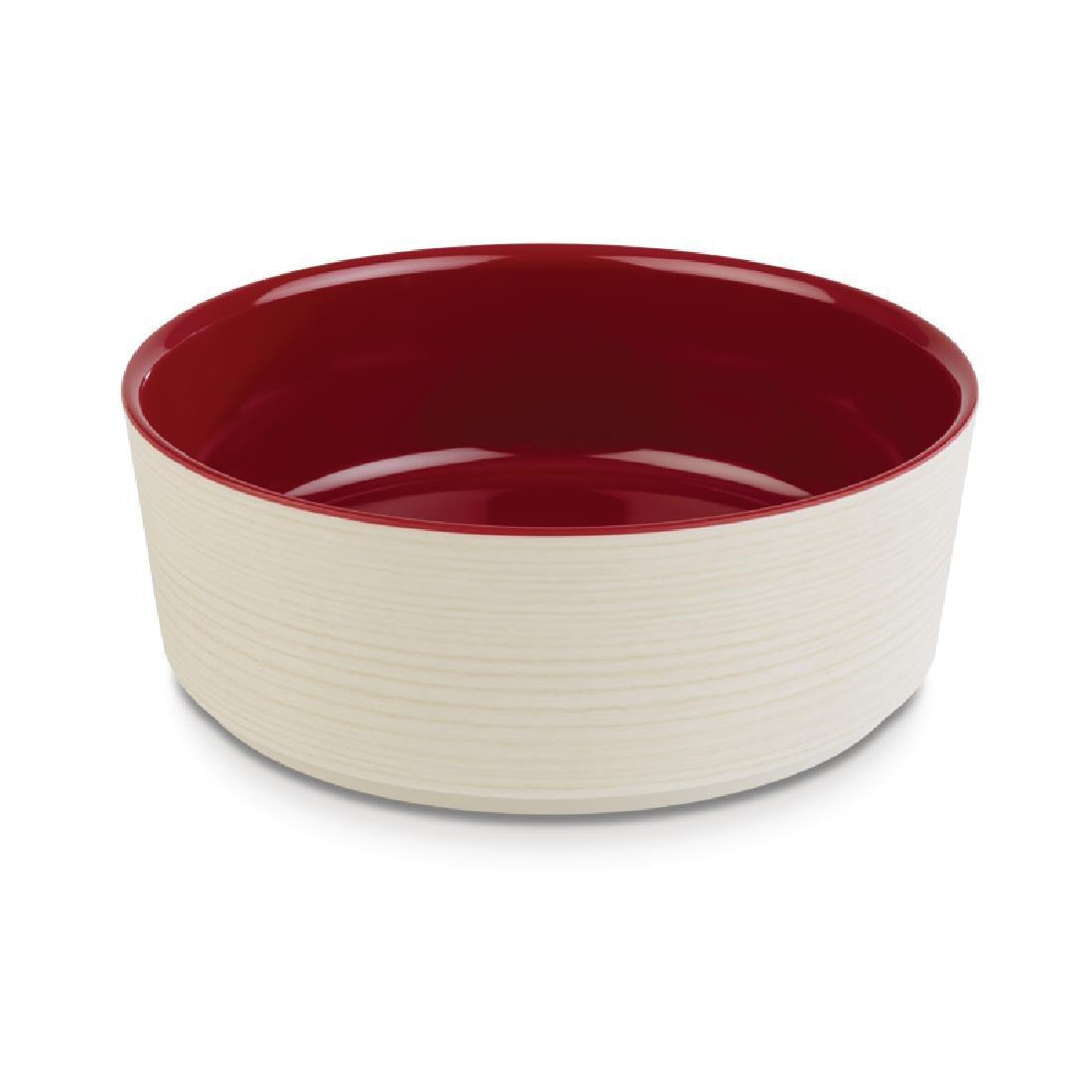 APS+ Melamine Round Bowl Maple and Red 1.5 Ltr - Each - DE567