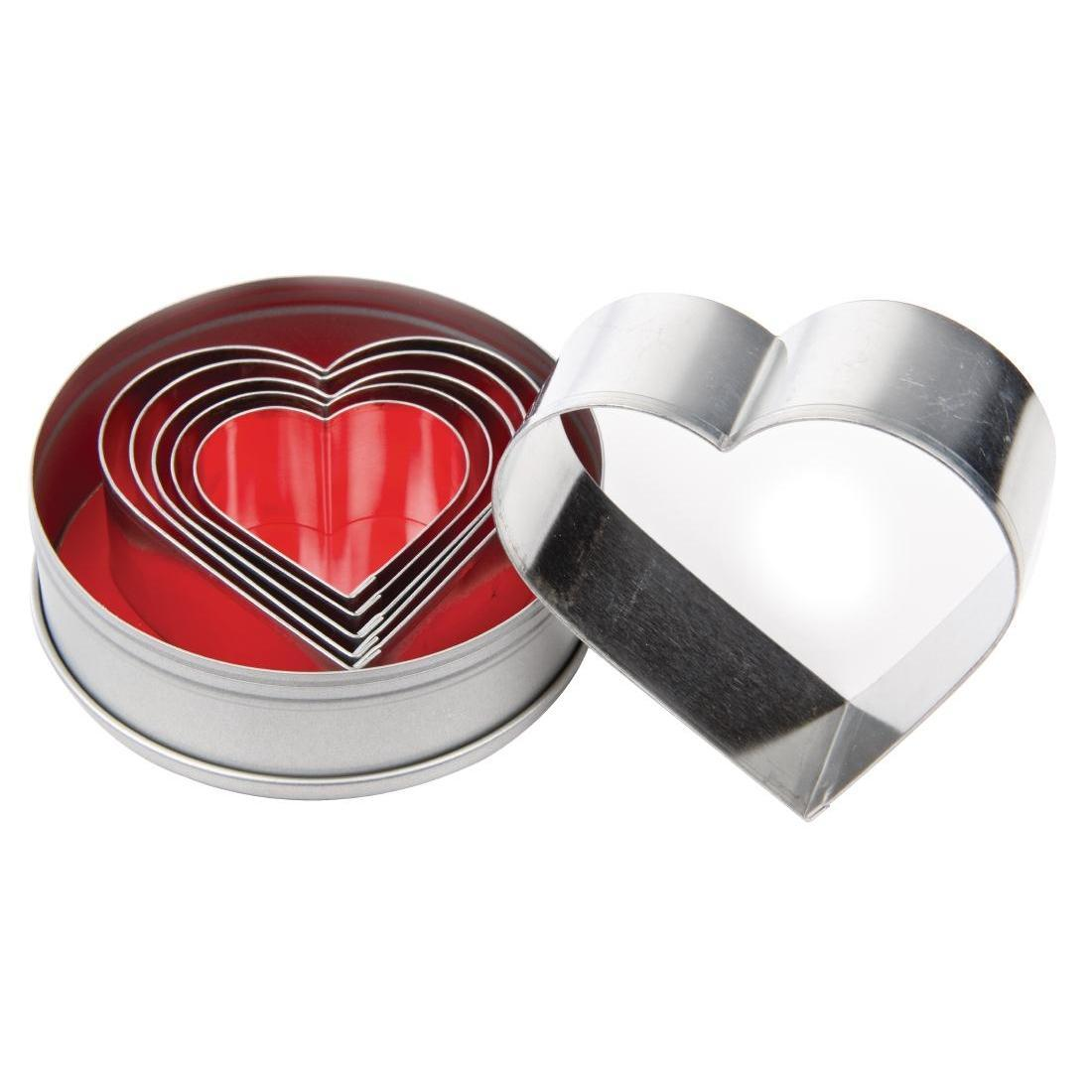 Vogue Heart Pastry Cutter Set - Case 6 - E025