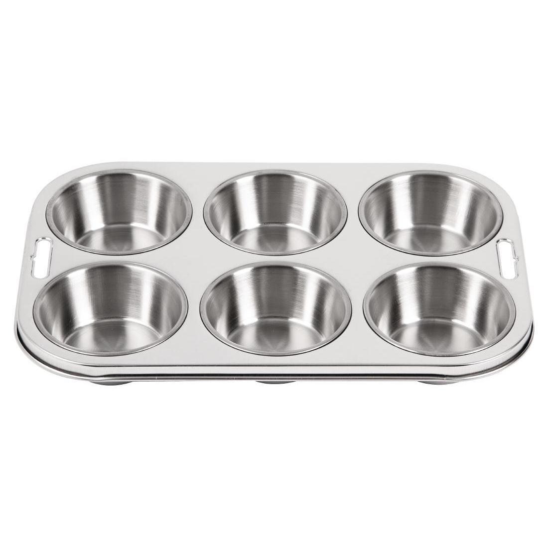 Vogue Stainless Steel Deep Muffin Tray 6 Cup - Each - E714