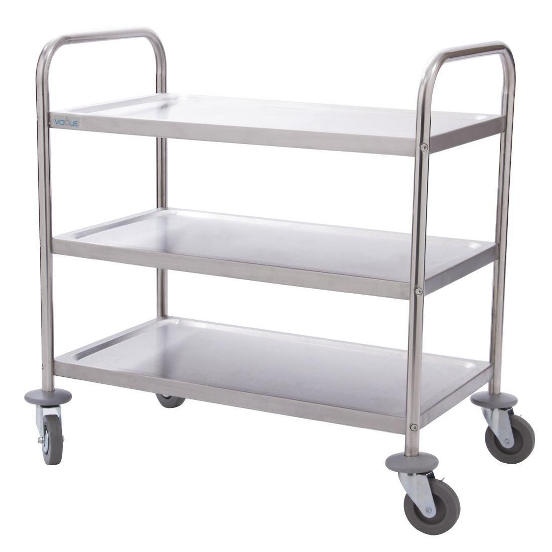 Vogue Stainless Steel 3 Tier Clearing Trolley Small - Each - F993