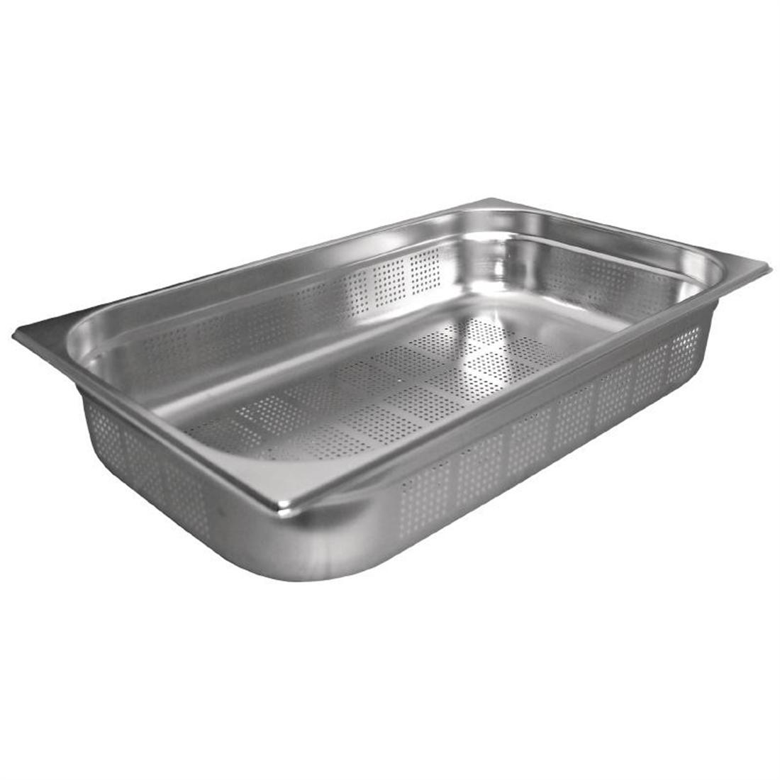 Vogue Stainless Steel Perforated 1/1 Gastronorm Pan 150mm - K842