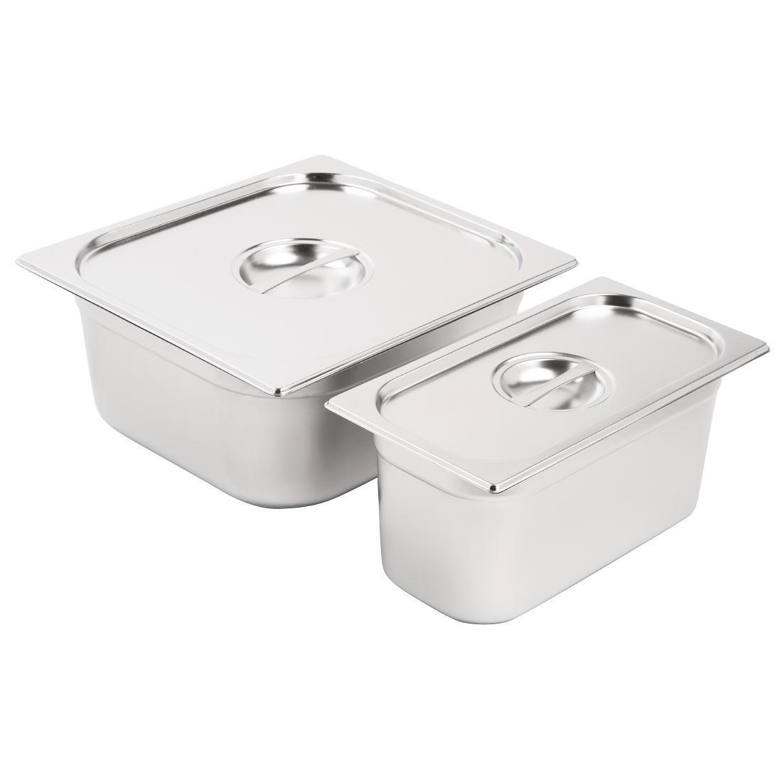Vogue Stainless Steel Gastronorm Pan Set 1/3 and 2/3 with Lids - SA240