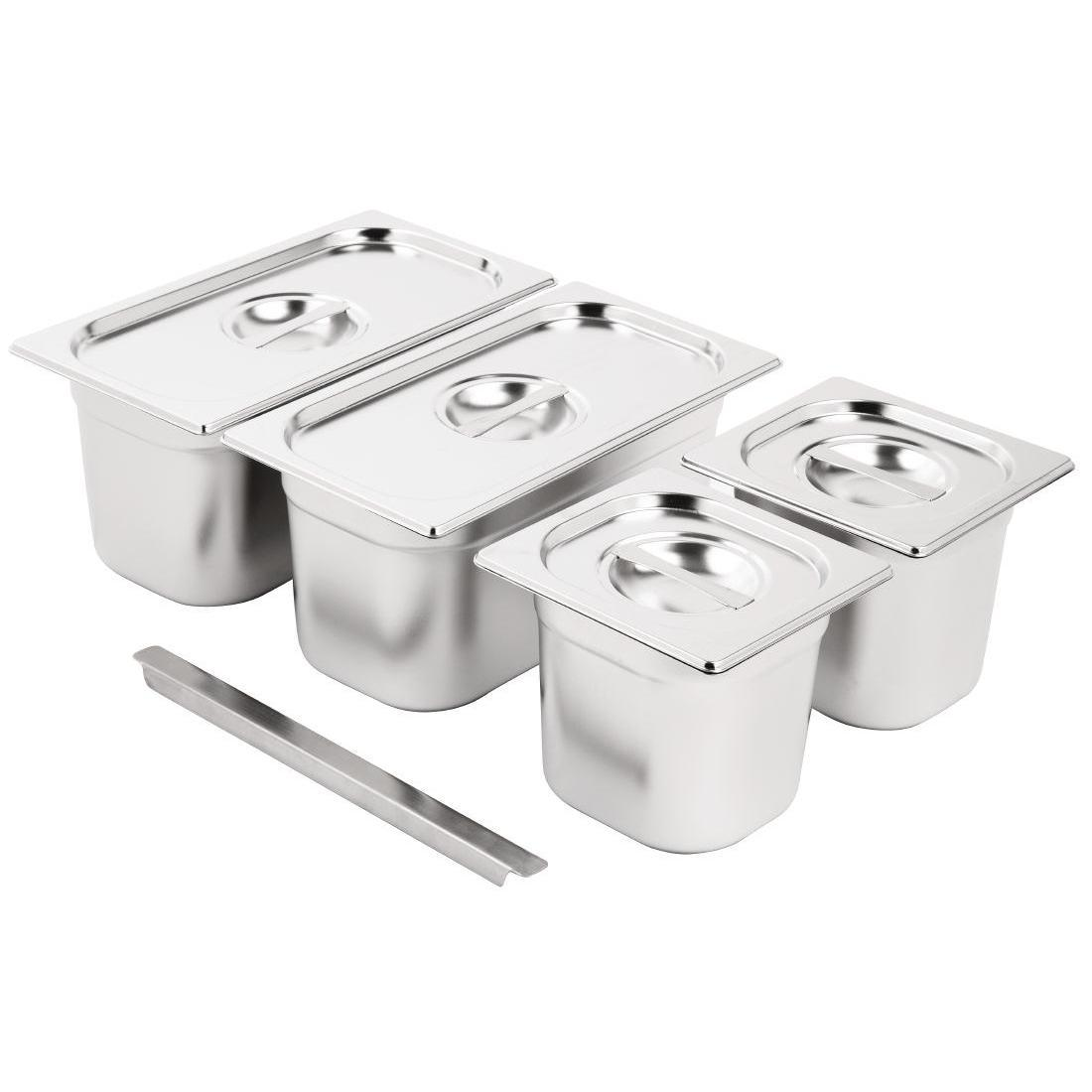 Vogue Stainless Steel Gastronorm Pan Set 2x 1/3  2 x 1/6 with Lids - SA249