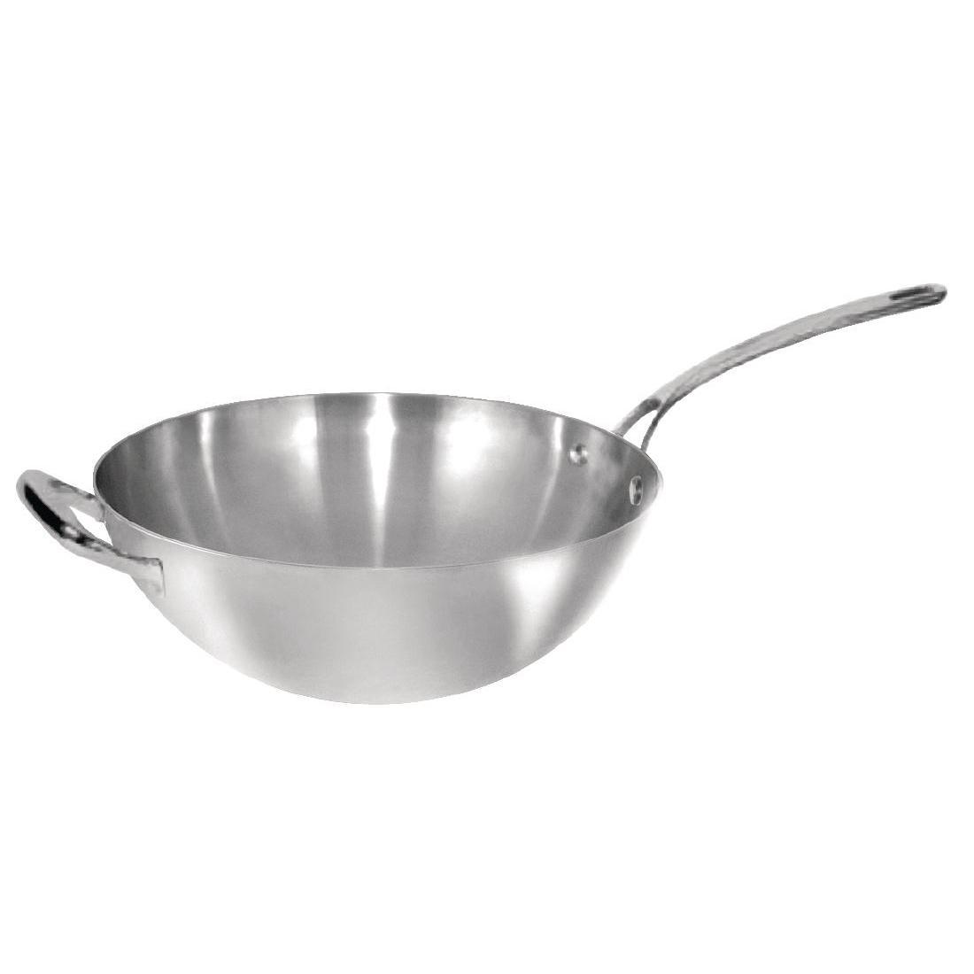Vogue Tri Wall Wok Flat Base 305mm - Y261