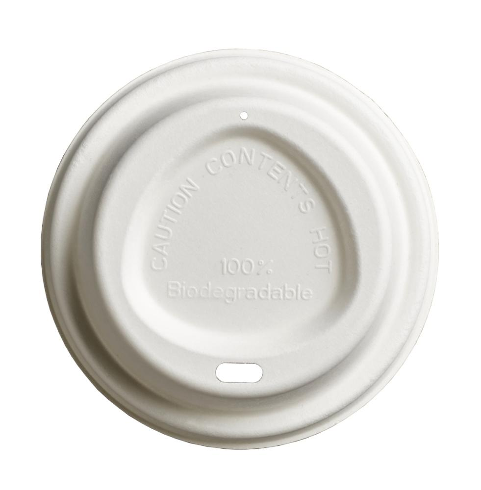 8oz White Bagasse Lids For Hot Cups, Home and Commercially Compostable