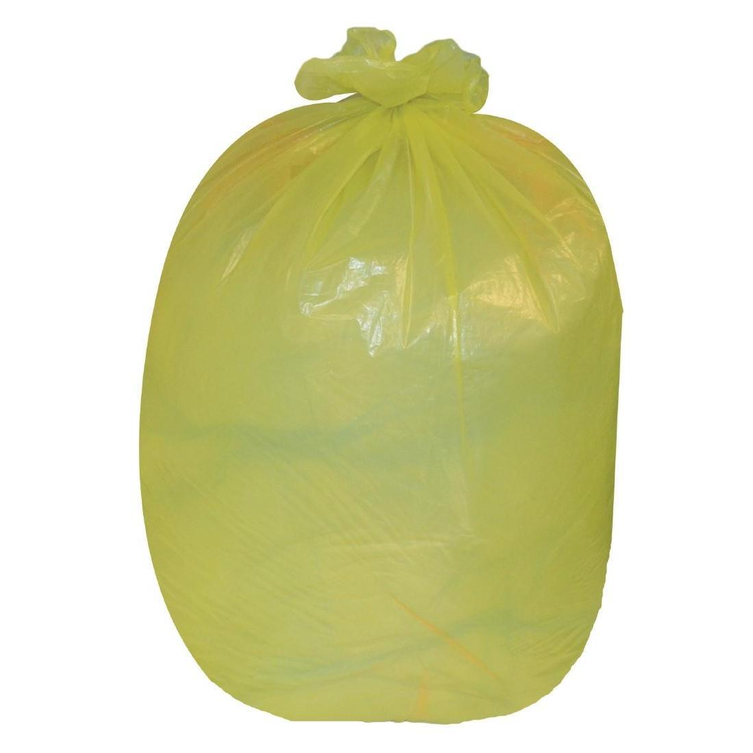 Jantex Large Medium Duty Yellow Bin Bags 90Ltr