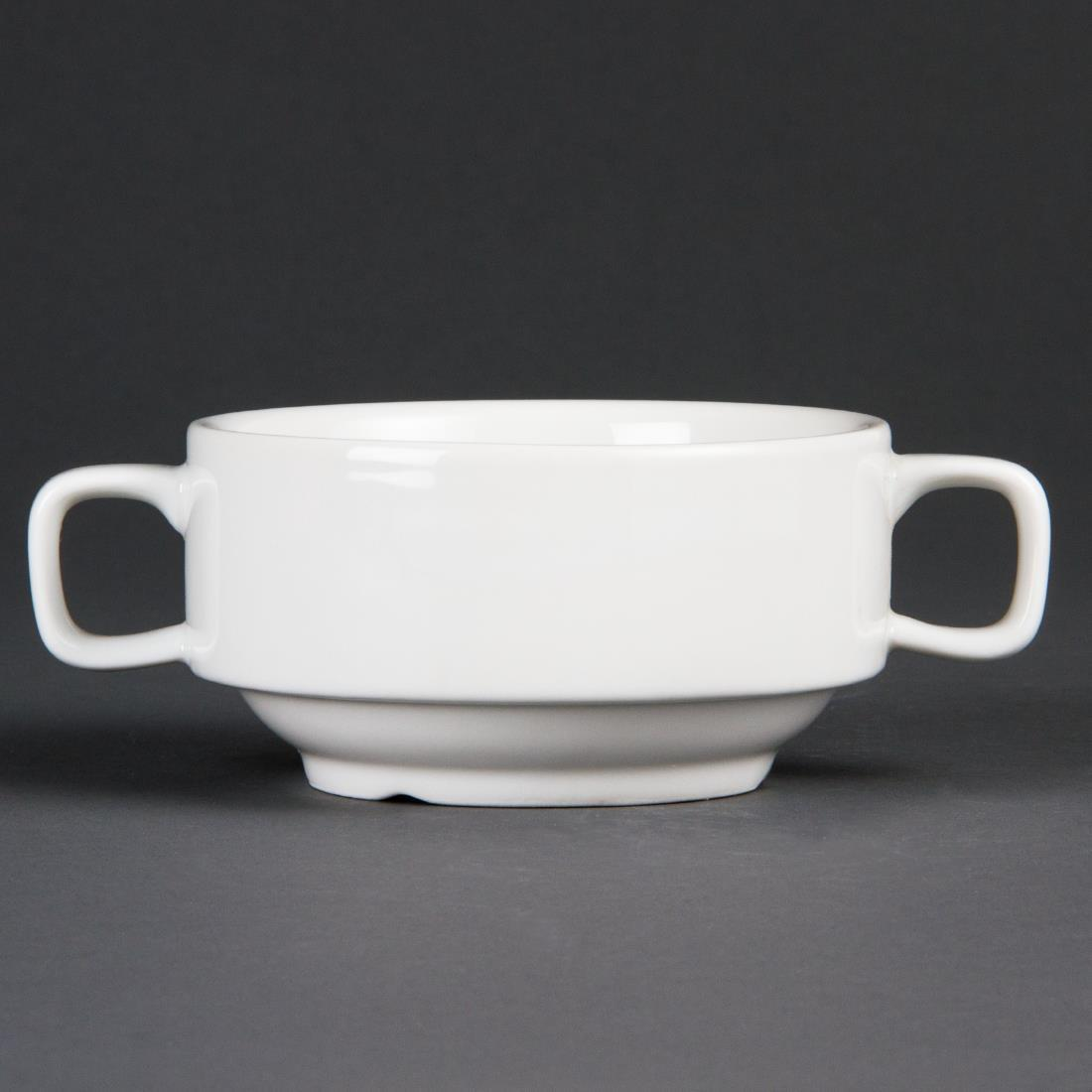 Olympia Whiteware Soup Bowls With Handles 400ml