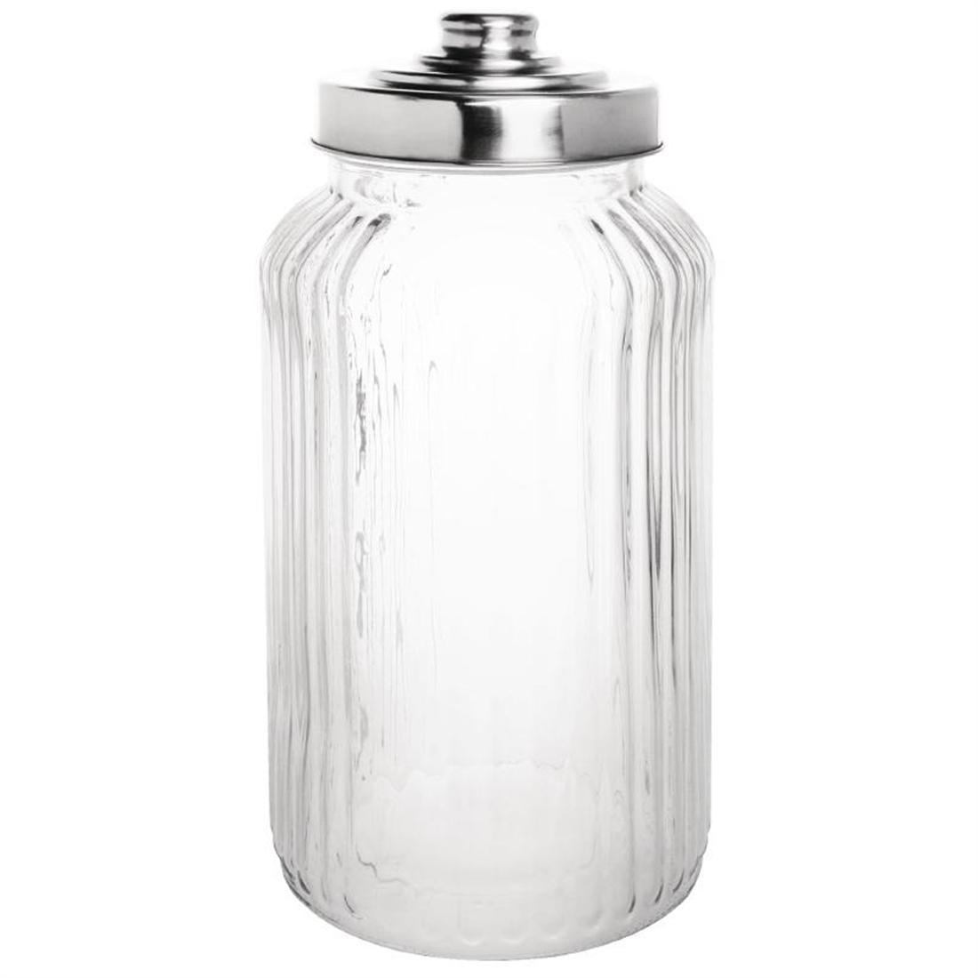 Olympia Ribbed Glass Storage Jar 1400ml (Pack of 6)